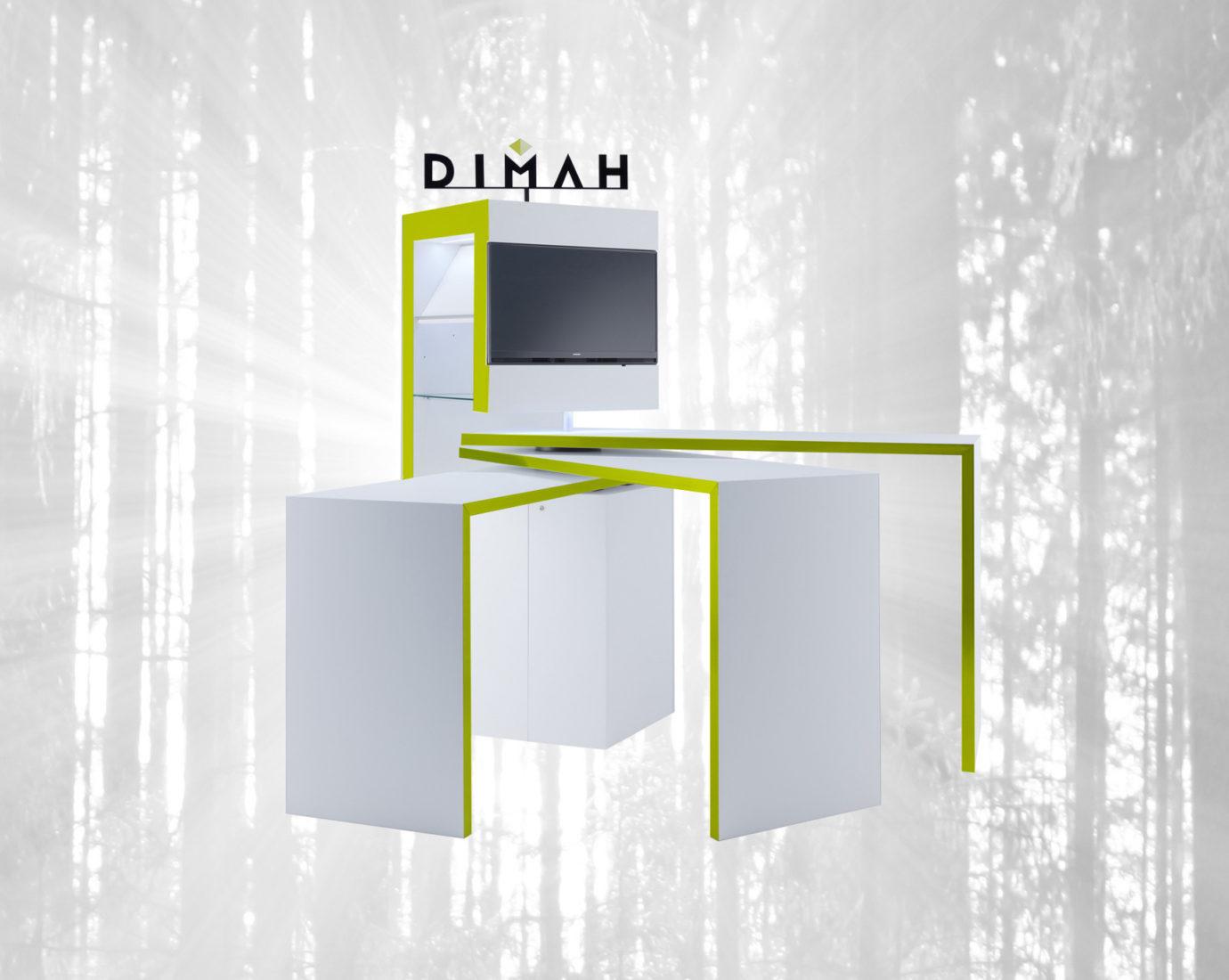 DIMAH - SPINit! Präsentationssystem und Markenkommunikationsmöbel