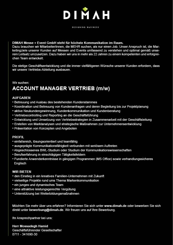 Stelle Account Manager DIMAH